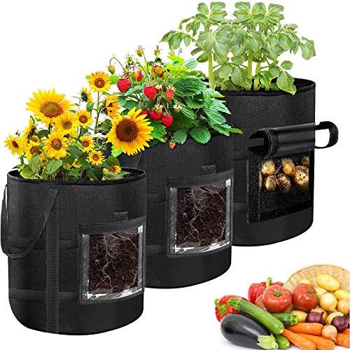 Bolsa de Cultivo de Plantas, 7 Gallones Maceta de Cultivo de Patatas, Macetas de Tela con Asas - Saco para Plantas de geotextil para Flores y Verduras