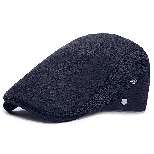 PORSYOND Sombrero De Verano De Malla Transpirable De Los Hombres Sombrero De Newsboy Boina Cabbie Ivy Cap Gatsby Flat Cap, 1-azul marino, Taille unique