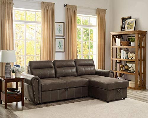 Best Lilola Home LILOLA Ashton Microfiber Reversible Sleeper Sectional Sofa Saddle Brown