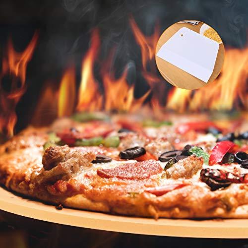 Pizza Stone,14 Inch Large Ceramic Round Baking/Grilling Pizza Stone for BBQ|Roast Turkey|Crisp Crust Pizza|Bread,Ovens&Grills Cooking Pizza Stone Kit