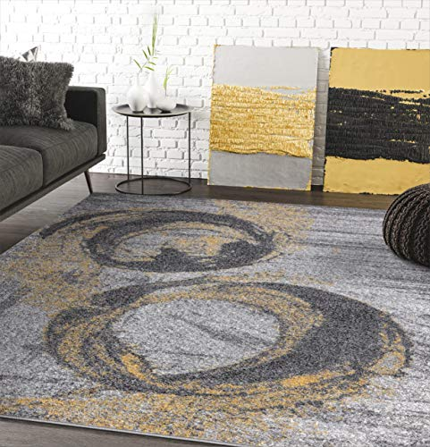 Yellow & Grey Bold Splatter Ring Contemporary 4' x 6' Area Rug - Laguna Collection Modern Style Accent Rug by Abani Rugs
