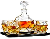 The Wine Savant Wine and Whiskey Iceberg Mountain Glacier Decanter with 4 Glasses and Wood Tray