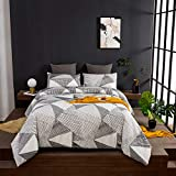Wellboo Geometric Comforter Sets Queen Black and White Modern Triangle Bedding Sets Cotton Full Black Striped Lines Comforters Men Women Adult Aesthetic Art Quilts Soft Health with 2 Pillowcases