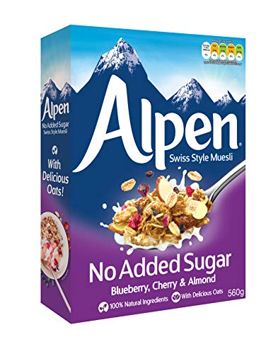Weetabix Alpine Muesli zonder toegevoegde suiker, Bosbes, Kers & Amandel – Ontbijtgranen, 1x560g