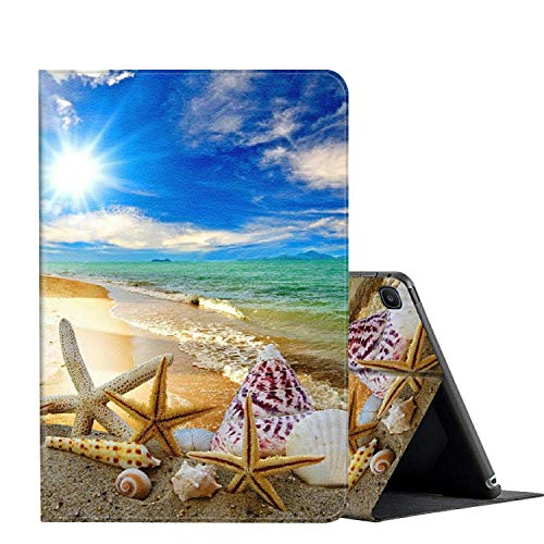 Galaxy Tab A 10.1 case 2019 Tablet Model SM-T510 T515, AMOOK Multi-Angle Viewing Anti Slide Folio Stand Smart Cover Cases for Samsung Galaxy Tab A 10.1 Inch - Beautiful Beach Seashells