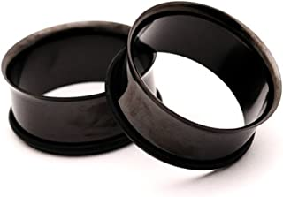 Black Steel Single Flare Tunnels - 1/2 Inch - 12mm - Sold As a Pair