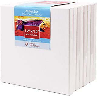 """Artecho 12""""x12"""" Stretched Canvas, White Blank 8 Pack, Primed 100% Cotton, for Painting, Acrylic Pouring, Oil Paint & Artist Media"""
