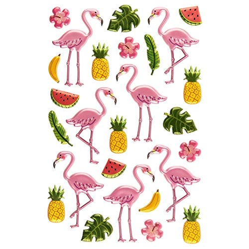 Ideen mit Herz Relief-Sticker, Flamingos, 15cm x 10cm, 27 Sticker