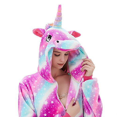 ABENCA Fleece Onesie Pajamas for Women Adult Cartoon Animal Unicorn Christmas Halloween Cosplay Onepiece Costume, Unicorn Sky New, L