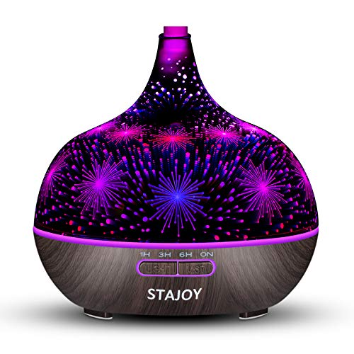 STAJOY 3D Glass Essential Oil Diffusers, 400ml Ultrasonic Aromatherapy Diffusers with 4 Timer, Cool Mist, Waterless Auto-Off, Mist Mode, 7 Color LED Lights (A)