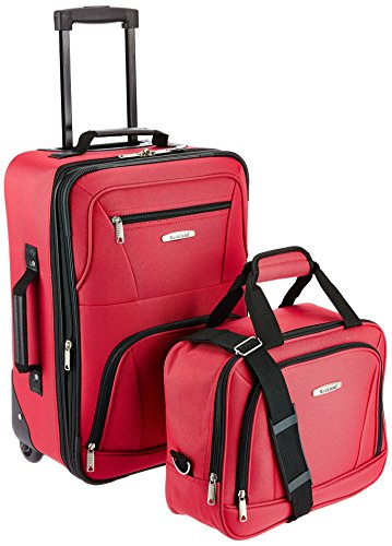 Rockland Fashion Softside Upright Luggage Set, Red, 2-Piece (14/20)