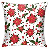 XCNGG Funda de almohadaEuropean Modern Minimalist Abstract Pattern Throw Pillow Christmas Seamless Patternred Poinsettia Flowers Pillow Decoration Set 18 X 18 Inches