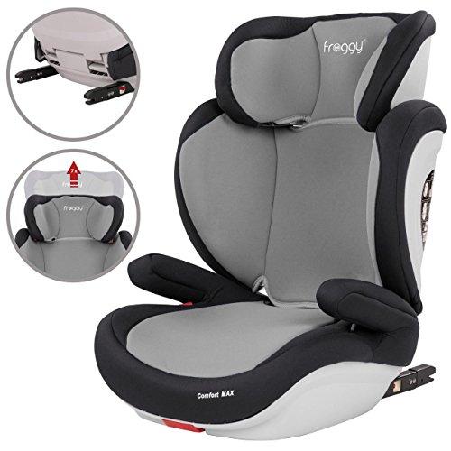 Froggy® Autokindersitz mit ISOFIX Gruppe II/III + Sicherheitsnorm ECE R44/04 + 5-Punkte-Sicherheitsgurt verstellbare Kopfstütze+Rückenlehne Grau