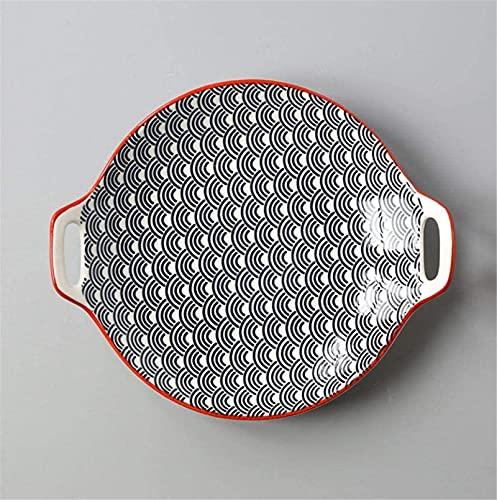 ZRB Juego de Platos, Cerámicas Cena Conjuntos Placa de Porcelana Creativa Placa de Oreja Doble Placa De Cerámica Esmalte Color Simple Hogar 9 Pulgadas Platos Sirviendo Laboratos para Cocina