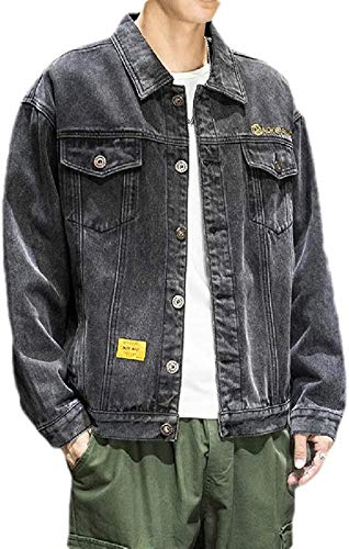 Mens Stylish Embroidery Long Sleeve Button Up Denim Jacket Jean Coat