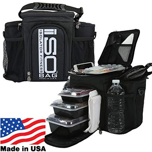 Isolator Fitness 2. Generation Isobag 3 Mahlzeiten Management System/Silbernes Logo/Schwarz/Isolierte Mahlzeiten-Kühltasche