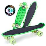 N/T 22 Zoll Mini Cruiser Skateboard Retro Komplettboard Cruiser-Board Mit LED Leuchtrollen Retro Skate Board Für Erwachsene Kinder Jungen Mädchen