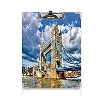クリップボード 用箋挟 クロス貼 A4 短辺とじ ロンドン フォルダーボードフォルダーライティングボード (2個)ロンドンの川に架かる歴史的なタワーブリッジ英国英国の日時間国際遺産装飾多色