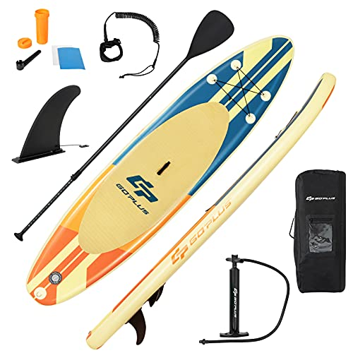 GYMAX 10.5FT/11FT Inflatable Paddle Board, 6' Thick Stand Up SUP Paddleboards with Non-Slip Deck, Adjustable Paddle, Leash, Hand Pump and Backpack (Beige, 335)