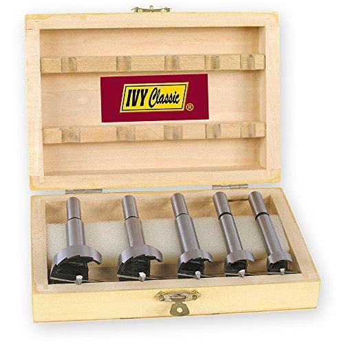 IVY Classic 46180 5-Piece Forstner Bit Set, High-Carbon Steel, Wooden Case