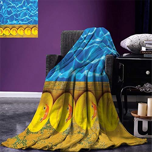 Deken geel en blauw gooien deken schattig rubber eenden bekleed in de buurt van het zwembad Azure water leuk zomer Aqua oranje geel bed reizen warm 102X127Cm Fleece deken Unisex gooi B