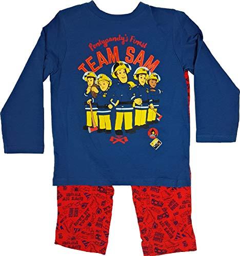 Feuerwehrmann-Sam Jungen Schlafanzug Pyjama Feuerwehrauto (Blau-Rot, 116)