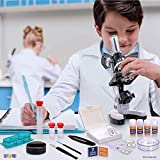 Abhsant Microscope for Students Kids 300X-600X-1200X Magnification Biological Educational Microscope with Operation Accessories, Slides Set