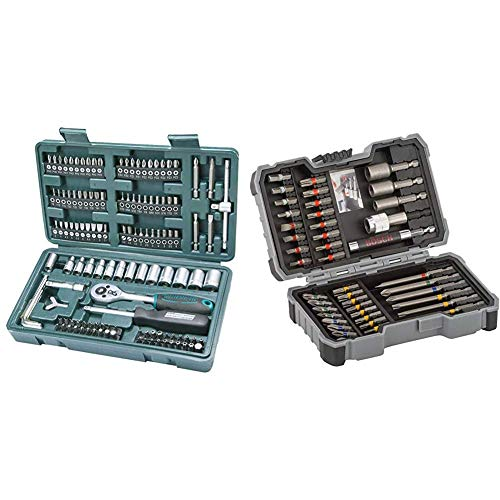 Mannesmann 130-tlg. Steckschlüssel- und Bitsatz, M29166 & Bosch Professional 43tlg. Schrauber Bit Set (Zubehör für Elektrowerkzeuge)