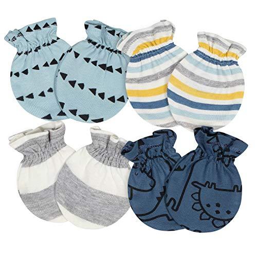 Gerber Baby Boys' 4-Pair Mittens, Dinosaur Blue, 0-3 Months