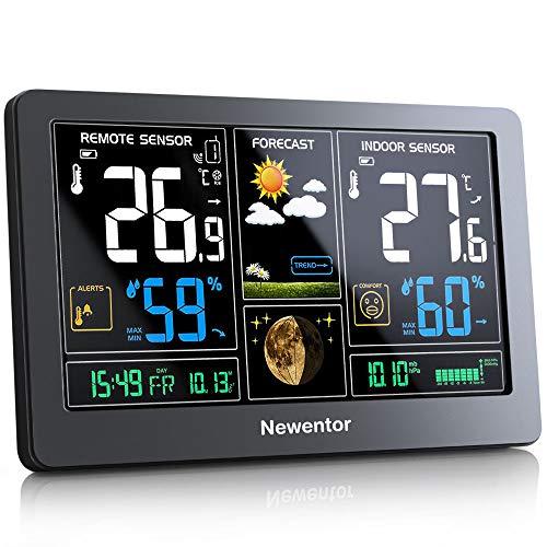 Newentor Wetterstation mit Außensensor Funk Digitales Farbdisplay DCF-Funkuhr Multifunktionale Funkwetterstation Thermometer Hygrometer