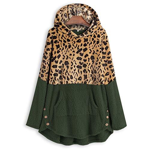 WOZOW T-Shirt à Manches Longues Manteau Sweatshirt Molleton Décontracté Laine Polaire Femme Veste Zippé Sweat-Shirt Capuche Hoodie Chaud Sweat Sports Pullover(Vert,XL)