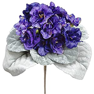 8″ African Violet Silk Flower Bush -Purple (Pack of 12)