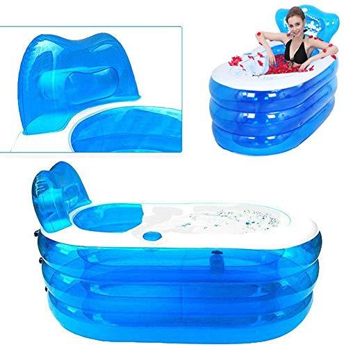 LLDKA Opvouwbare badkuip voor volwassenen, PVC, opvouwbaar plastic badkuip, 121 x 85 x 70 cm