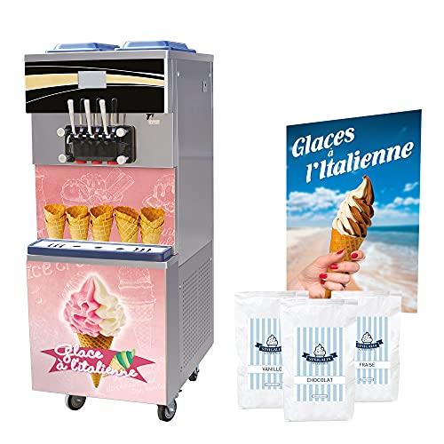 Pack Glace à lItalienne Machine Professionnelle 25l/h avec Mix à Glace et Accessoires