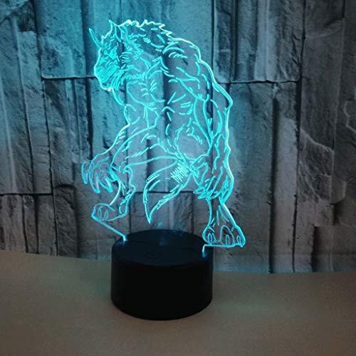 Loup-garou 3D-nachtlampje, klein, USB, fitting, LED-paneel, acryl, kleurrijk, afstandsbediening/touchscreen, 3D, stereoscopisch, creatief, voor kinderkamer