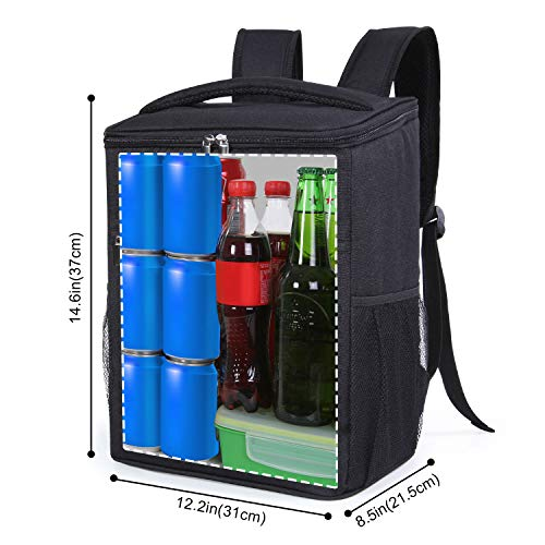 Lifewit 24L (30-Can) Soft Cooler Backpack with Hard Liner, Large Insulated Picnic Lunch Backpack Soft-Sided Cooling Bag for Camping/BBQ/Family Outdoor Activities (Black)