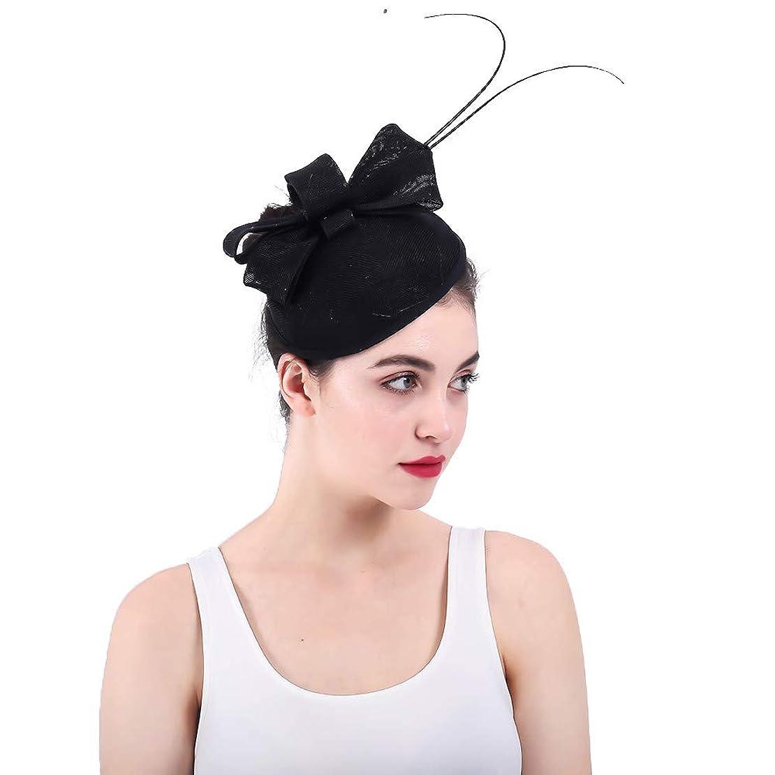 相談する産地加速度女性の魅力的な帽子 女性のエレガントな魅惑的な結婚式のヘアピンヘッドドレスフラワーレディカクテルティーパーティー帽子ロイヤルアスコットピルボックスダービーキャップ