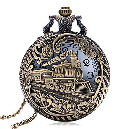 Moonlight Star Entrenar patrón Locomotora Cubierta Hueca Reloj Reloj de Bolsillo del Regalo del diseño Collar Colgante de Cadena (Color : P1027)