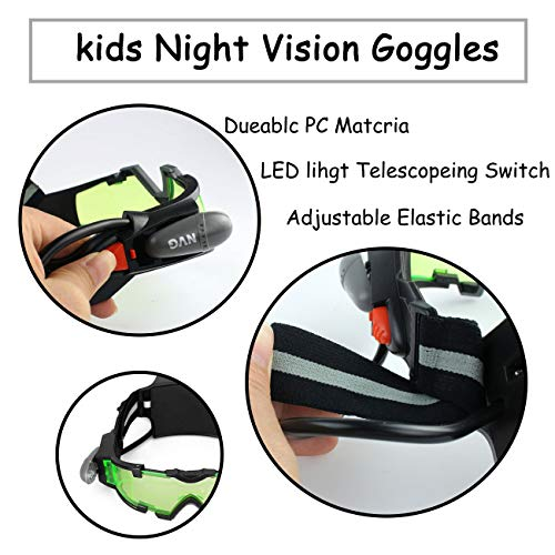 Yolyoo Night Vision Goggles, Adjustable Kids LED Night Goggles Flip-Out Lights Green Lens for Racing Bicycling, Skying to Protect Eyes Children's Day Gift