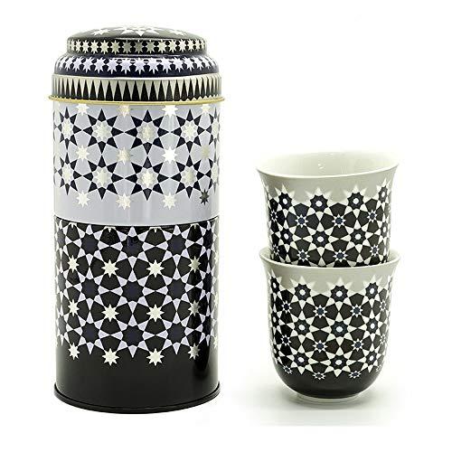 Images d'Orient Set Regalo 2 in 1 Scatola in Metallo con 2 x 90 ml tazzine da caffè tazzine da Espresso Porcellana con Disegno Nero-Bianco Kaokab