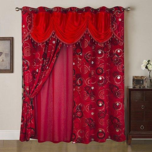 Best Interior Rideau et Voilage Mille et Une Nuit - Rouge - Dimensions : 280x260cm