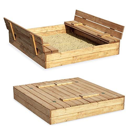 Preisvergleich Produktbild Sandkasten Sandbox Sandkiste mit Klappdeckel Sitzbänken 120x120x20 Kiefernholz mit Anti-Unkraut Bodenplane Deckel und Bank Buddelkasten Quadratisch Gartenspiel