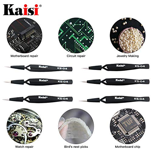 Kaisi 6 PCS Cross Locking Tweezers Set, Anti-Static Stainless Steel Tweezers Set for Craft, Jewelry, Electronics, Laboratory Work
