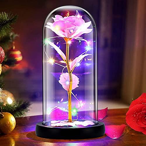 Gomyhom Rose Regalo para Nujeres Cumpleaños, Belleza y la Bestia Rosas, Arcoíris Rosa de Cristal Regalos para Decoraciones para Bodas, Regalos para Mamá, Abuela, Día De San Valentín, Navidad (Rosa)