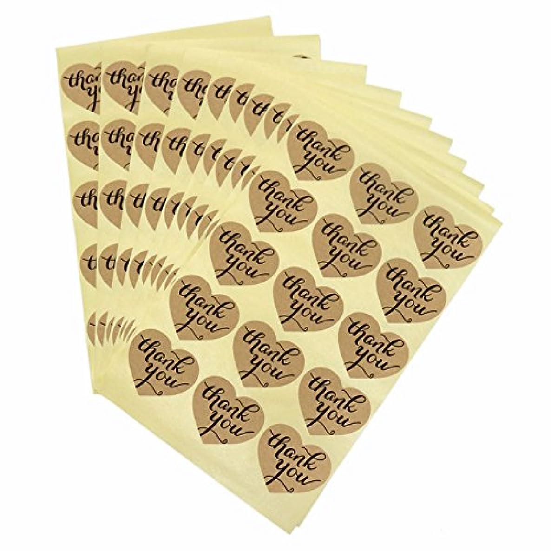 150PCS Thank You Sticker Labels Heart Shape Kraft Paper Sticker Labels for Wedding Party Favor Thank You Card, Thank You Sticker, DIY Gift Packaging(10 Sheets)