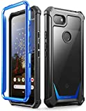 Poetic Google Pixel 3a Rugged Clear Case, Full-Body Hybrid Shockproof Bumper Cover, Built-in-Screen Protector, Guardian Series, Case for Google Pixel 3a (2019 Release), Blue/Clear