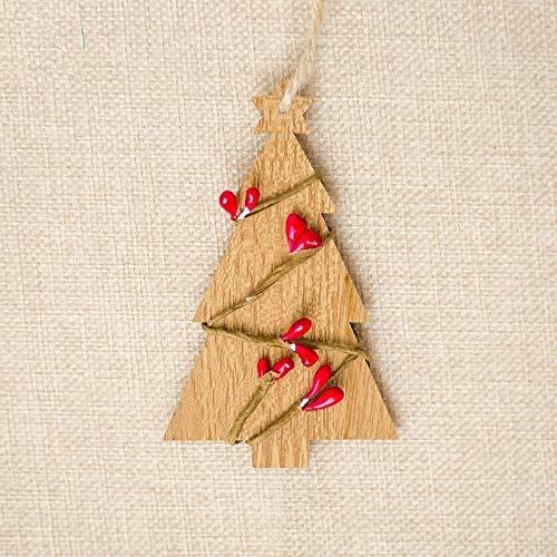 NLRHH 10 stücke Kreative Holz Weihnachtsbaum Rattan Holzschild Ornament (Braun) DIY (Farbe: Protokollfarbe) Peng (Color : Log Color)