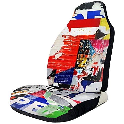 Alice Eva Fahrzeugsitz-Schutz-Auto-Matten-Abdeckungen, Collage zerrissene heftige Anzeige Plakate Grunge zerknittertes zerknittertes Papier