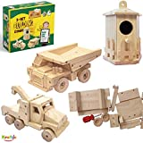 Kraftic Woodworking Building Kit for Kids and Adults, with 3 Educational DIY Carpentry Construction Wood Model Kit Toy Projects for Boys and Girls - Tow Truck, Birdhouse and Dump Truck