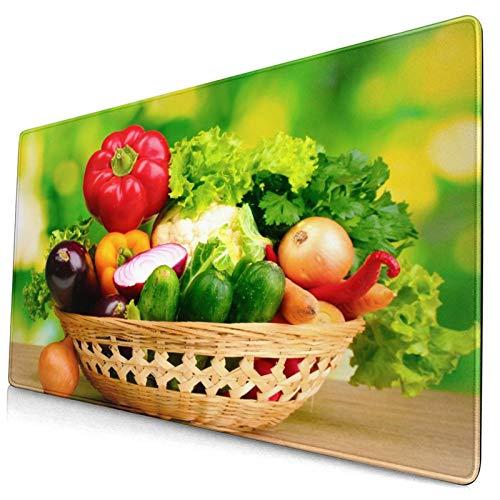 LASINSU Alfombrilla Gaming,Verduras Frescas en la Canasta en la Mesa de Madera sobre Fondo Verde,con Base de Goma Antideslizante,750×400×3mm